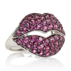 "Rarities 2.75ct Rhodolite Sterling Silver ""Lips"" Ring"