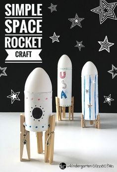 Your children are going to have a blast making this Simple Rocket Space Craft for Kids! Use supplies you already have on-hand! aus pet flaschen rakete Simple Rocket Space Craft for Kids Using Recycled Materials Space Preschool, Preschool Crafts, Space Activities For Kids, Solar System Activities, Solar System Crafts, Rocket Craft, Preschool Rocket, Diy Rocket, Easy Crafts