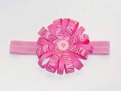 Pink Zebra Baby Girl Hair Bow Headband Pink by ItsyBitsyBeauty