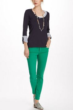 Anthro - green pants, navy top, necklaces