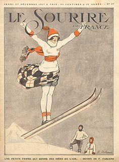 1917 Skiing, Winter Sports, Ski jumping Source Le Sourire Fabien Fabiano, illustrator