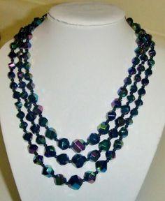 "Elegant Vintage Aurora Borealis Blue ""Carnival"" Glass Bead Multistrand Necklace | eBay $14.99 https://www.facebook.com/AColourfulPast"