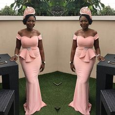 Rose Pink Mermaid Bridesmaid Dresses With Beads Waist 2020 African Women Boat Neck Long Wedding Party Dress Maid Of Honor African Evening Dresses, African Lace Dresses, Latest African Fashion Dresses, Mermaid Evening Dresses, Formal Evening Dresses, Mermaid Bridesmaid Dresses, Wedding Dresses With Straps, African Bridesmaid Dresses, Latest Dress Design