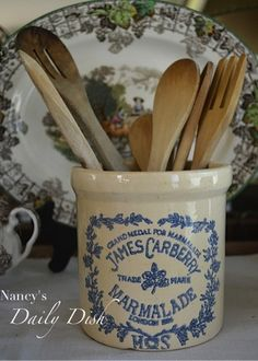 Vintage English Blue Transferware Marmalade Crock Jam Jar Transferware Advertising James Carberry