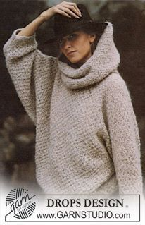 "DROPS jumper in ""Ardesia"" in moss st with large turtle neck. Size M. ~ DROPS Design"
