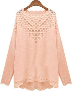 Pink Long Sleeve Hollow Loose Knit Sweater 21.67