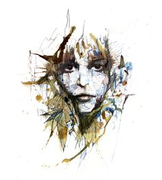portrait painted in ink and tea by artist Carne Griffiths