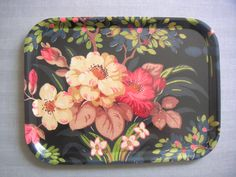 Birchwood tray with fabric (unknown design) Trays, 1930s, Pot Holders, Lunch Box, The Originals, Fabric, Design, Tejido, Potholders