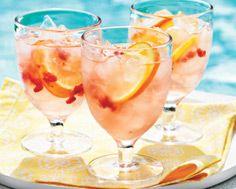 Pink Lemonade Sangria- my fav for summer!  But it's better with strawberries instead of raspberries