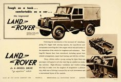 Check out this 1954 Land Rover ad! Vintage Advertisements, Ads, Car Advertising, My Land, Land Rover Defender, Old Trucks, Range Rover, Landing, Monster Trucks