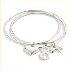 sterling silver #monogram triple bangle bracelet with puff #heart & faith,love,hope charm  $195  www.skatellsjewelers.com