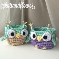 lindos inspiracao Crochet Home Decor, Crochet Crafts, Yarn Crafts, Crochet Projects, Crochet Owl Basket, Crochet Bowl, Crochet Yarn, Hello Kitty Purse, Craft Show Ideas