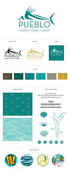Brand Identity / Branding system for Pueblo Modern Baja Coastal restaurant. Logo Design / Branding / Gretchen Kamp Design / Seafood / Restaurant Design