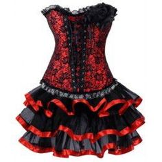 Trendy Women's Strapless Flower Embellished Lace-Up Corset and Layered Skirt