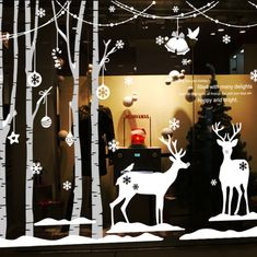 Christmas Vinyl Wall Decal Forest Winter Deer Tree Art Wall Sticker Christmas New Year Shop Store Window Glass Home Decoration