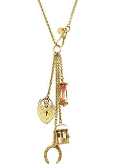 ANNINA VOGEL - 9ct yellow-gold horseshoe, dice and sand timer long signature charm necklace | Selfridges.com