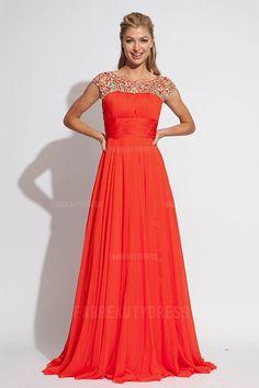 A-Line/Princess Bateau Sweep/Brush Train Chiffon Prom Dress
