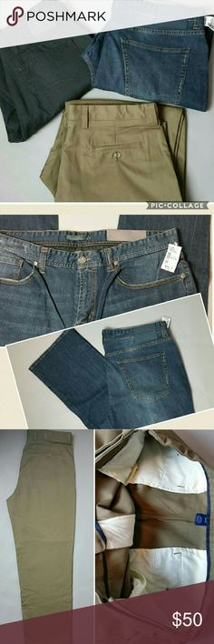 3 New Pr Men's Jeans/Pants 38X32 Three brand new pairs of Men's jeans/pants - size 38X32 1) Joseph Abboud 5 pocket jeans- NWT $99.50. They are such a nice dark wash that can be dressed up. The cut is not listed but they appear to be a straight leg. 99% cotton 1% spandex- not super stretchy, just a little bit of give 2) Falls Creek flat front Chino style pants in a dark tan/brown color. New without tags. Very flattering streamlined side pockets, 2 back slit pockets that button. 100% cotton…