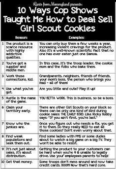 10 Ways Cop Shows Taught Me How to Sell Girl Scout Cookies. I'm a cookie dealer. I sell Samoas.
