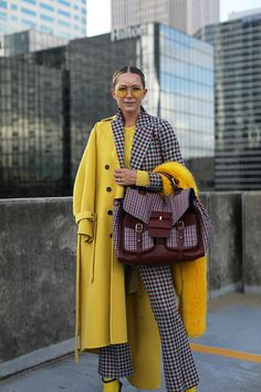 Trendy Outfits, Fashion Outfits, Womens Fashion, Fall Winter Outfits, Winter Fashion, Atlantic Pacific, Color Blocking Outfits, Yellow Coat, Fashion Sites