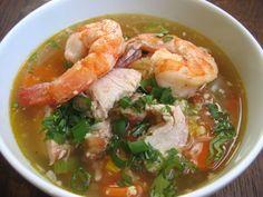 Chicken and Shrimp Soup and more Paleo soup recipes on MyNaturalFamily.com #paleo #soup #recipe