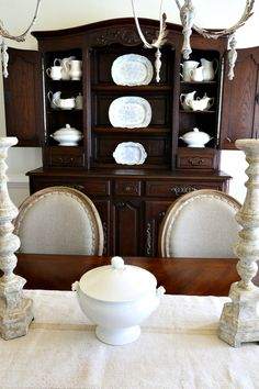 Savvy Southern Style: French Ironstone  French country  dining room  collection  antiques mixed with new
