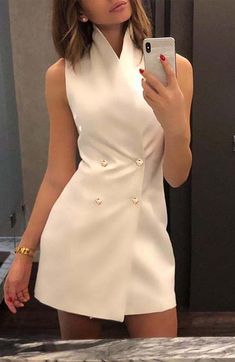 Women 2019 Summer Hot Fashion Casual Elegant Sleeveless Button Up Double-Breasted Short Mini Dresses Sexy Party Vintage Vestidos Color Blue Size S Blazer Dress, Collar Dress, Sleeveless Blazer Outfit, Belted Dress, Fashion Mode, Look Fashion, Dress Fashion, Womens Fashion, Fashion Fall