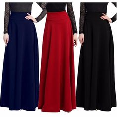 Plus Size High Waist Pleated Solid Color Long Skirt //Price: $29.99 & FREE Shipping //     #shopping