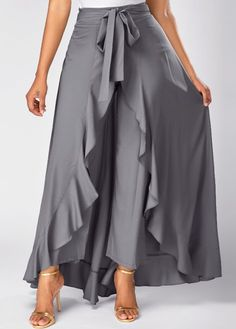 Tie Front Grey Side Zipper Overlay Pants on sale only US$31.58 now, buy cheap Tie Front Grey Side Zipper Overlay Pants at liligal.com