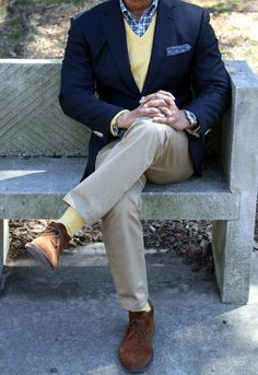 Jacket:Zegna, Sweater and Pocket Square:Brooks Brothers, Shirt:J Crew, Chinos Dockers, Chukka Boots:Peals