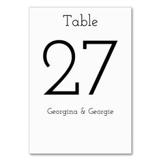 Shop Plain, Elegant, Minimalist, Simple Black & White Table Number created by AponxDesigns. Table Names, Numbers, Minimalist, Letters, Black And White, Elegant, Nice, Simple, Cards