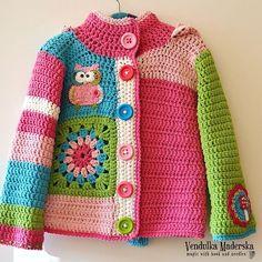 Baby Knitting Patterns Sweter Similar Items like Handmade Crochet Cardigan with Owl and Mushroom Appliques on … Crochet Baby Sweaters, Crochet Coat, Crochet Baby Clothes, Crochet Jacket, Crochet Cardigan, Crochet Toddler, Crochet Girls, Crochet For Kids, Free Crochet