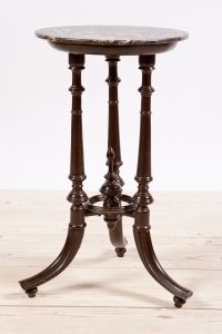 Antique Grunderzeit Wine Table in Beech with Negra Marquina Black Marble Top, c.1890