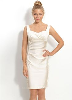 Wedding Dresses - $105.99 - Sheath/Column Sweetheart Knee-Length Charmeuse Wedding Dress With Ruffle (00205001994)