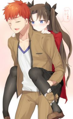 Shirou Emiya and Rin Tohsaka (Anime = Fate Stay Night UBW)