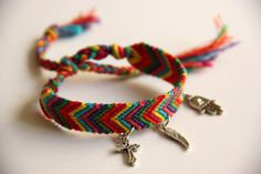 Image of Deluxe Rainbow Chevron Friendship Bracelet with Charms