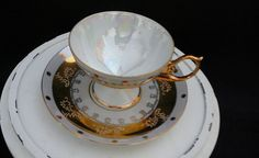 VINTAGE LM ROYAL HALSEY LUSTREWARE FOOTED TEACUP & SAUCER W/ GOLD TRIM #LMRoyalHalsey