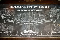 In love with the oversized custom chalkboard at Brooklyn Winery.