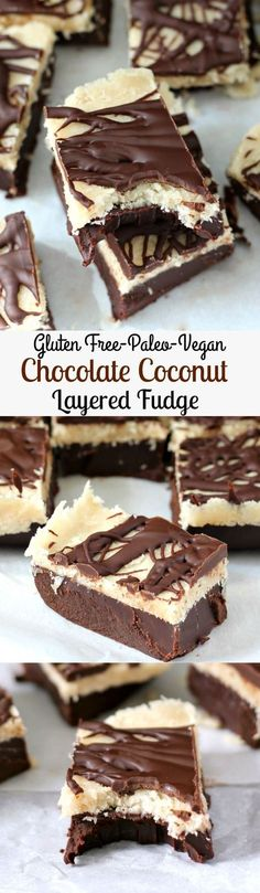 Layered Chocolate and Coconut Fudge that's no bake gluten free Paleo dairy free and Vegan. Rich creamy and indulgent without the junk! Gluten Free Sweets, Paleo Sweets, Paleo Dessert, Gluten Free Baking, Dessert Recipes, Meal Recipes, Paleo Recipes, Recipies, Low Carb Paleo