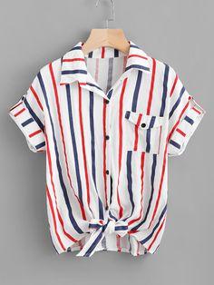 Cheap shirt women shirt, Buy Quality women shirts directly from China shirt women Suppliers: blusas mujer de moda 2019 Women's Blouse Button pocket Stripe Short Sleeve Shirt Womens Tops And Blouses Women kimono Loose Shirts, Shirts & Tops, Printed Shirts, Casual Tops, Casual Shirts, Shirt Bluse, Shirt Cuff, Collar Shirts, Blouses For Women