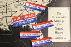 Vintage Air Mail Labels Par Avion Via Air Mail by VintageInkPrints