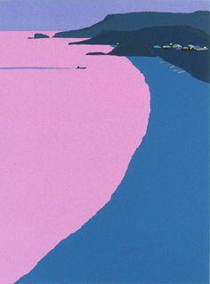 yanagawamiyo:  内田正泰 古里の海 木版画        irono配色がモダンだと思った.