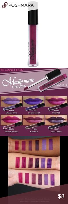 💟3 for$12💟 MADLY MATTE LIPGLOSS IN UNTAMED 💜MADLY MATTE LIPSTICK IN UNTAMED💜 Kleancolor Makeup Lipstick