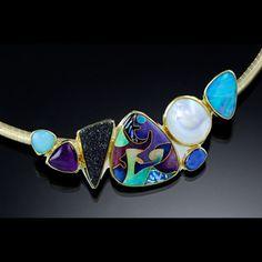 Judy Goskey stone and enamel necklace