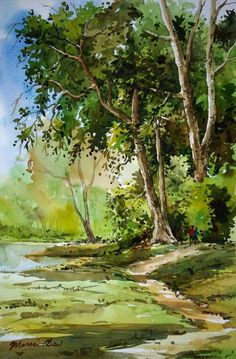 This week we will be painting trees - the most important thing to remember is if they are part of a larger landscape there will not be a lot of detail. Watercolor Scenery, Watercolor Landscape Paintings, Watercolor Artists, Landscape Art, Watercolor Flowers, Watercolor Painting Techniques, Watercolour Painting, Indian Art Paintings, Tree Art
