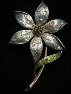 "Awesome Vintage 2-1/4"" Signed JJ Silver Tone Enamel Rhinestone Flower Brooch A42"