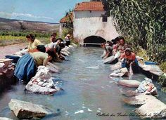 Vallado dos Frades-Um século de fotos: Lavadeiras no rio do moinho do Abegão anos 60