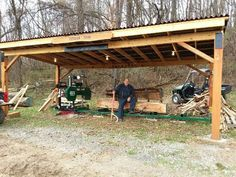 I wanted to share a picture of the sawmill that I purchased from you in I am very satisfied with it and would recommend buying from you. Thank you for a great product, Joe Dog Backyard, Large Backyard Landscaping, Backyard Seating, Backyard Sheds, Outdoor Sheds, Patio, Barn Plans, Shed Plans, Bbq Shed