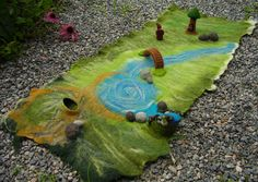 Felted playscape, water feature