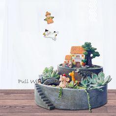 Requintado estilo pastoral vasos de resina Criativo paisagem Vasos de Flores decorativas em Pote para flores de Home & Garden no AliExpress.com | Alibaba Group